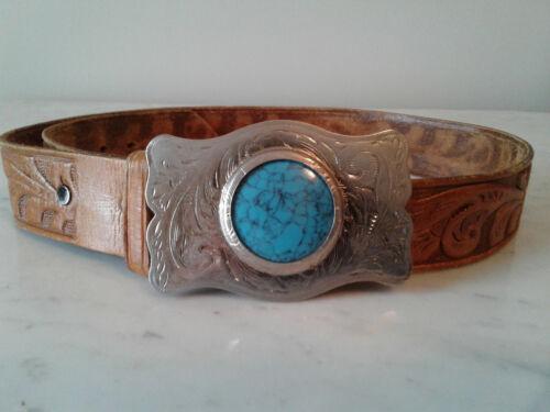 Vintage Western Leather Belt & Turquoise Silvertone Buckle Embossed Tooled Sz 36