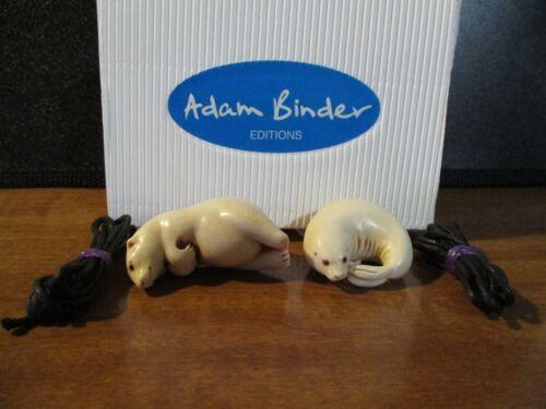 Harmony Kingdom Adam Binder Polar Bear and Seal Evt Set Palm Charm Pendants RARE