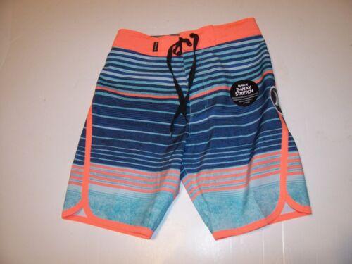 NEW Hurley blue orange stripe boys youth swim board shorts swimsuit 5 or 6 or 7