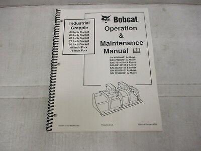 Bobcat Grapple Bucket Operation Maintenance Manual 60 66 72 80 Wide Industrial