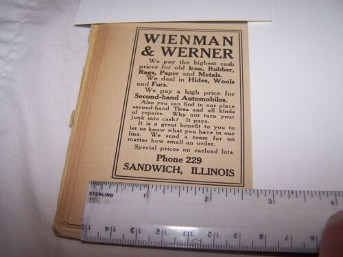 1917 WIENMAN & WERNER Print Ad SANDWICH ILLINOIS - Lot 32