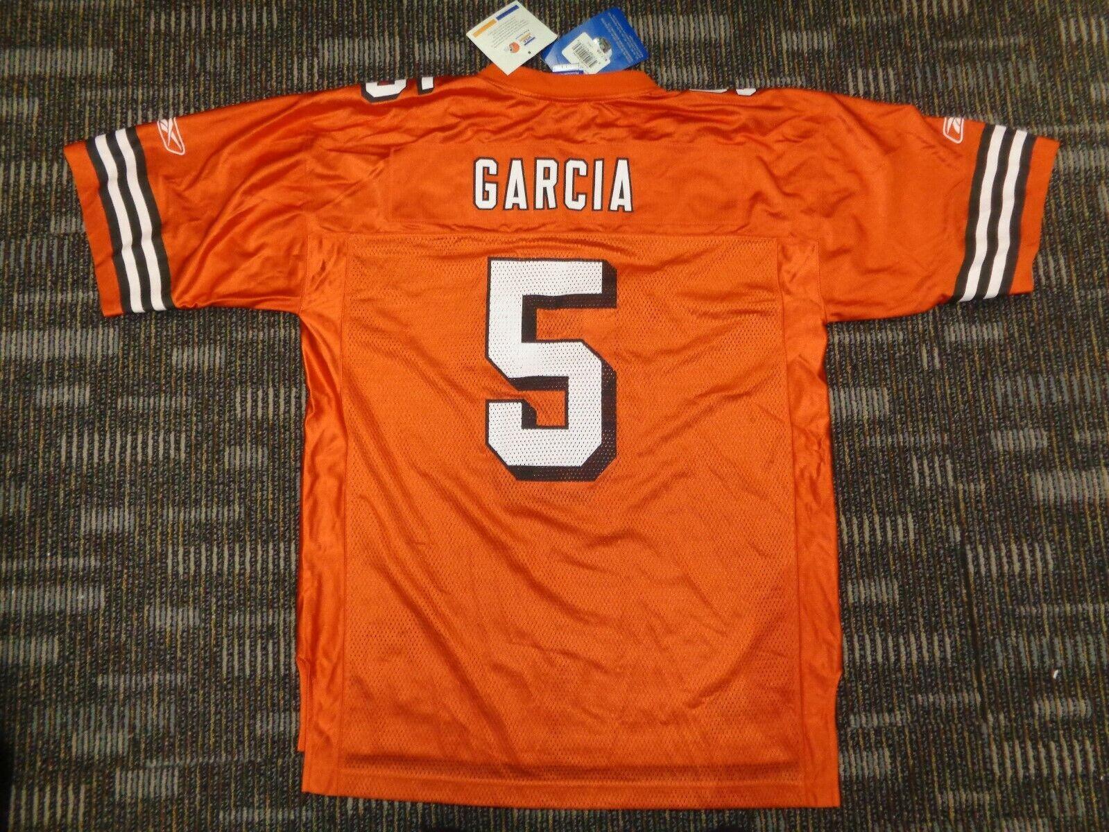 NWT JEFF GARCIA 5 CLEVELAND BROWNS REEBOK NFL CFL ORANGE GAME FOOTBALL JERSEY L - $34.99