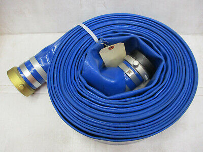 3 Pvc Discharge Hose 50 Foot Threaded Fittings 3 X 50 Blue Trash Pump Dewater