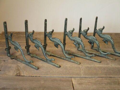 6 Cast Iron NAUTICAL SEAHORSE Brackets Garden Braces Shelf Bracket Book Beach