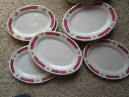 Oval Plate Restaurant Ware Vintage White Red China Plate Lot