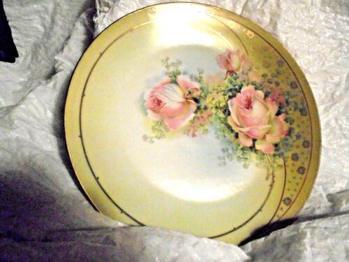 Antique Royal Rudolstadt Prussia Pink Roses Green Gold trim Porcelain Plate