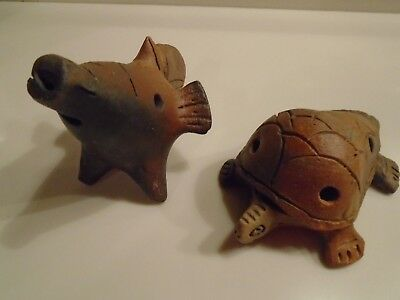 Two Primitive Clay Four Hole Five Note Ocarina