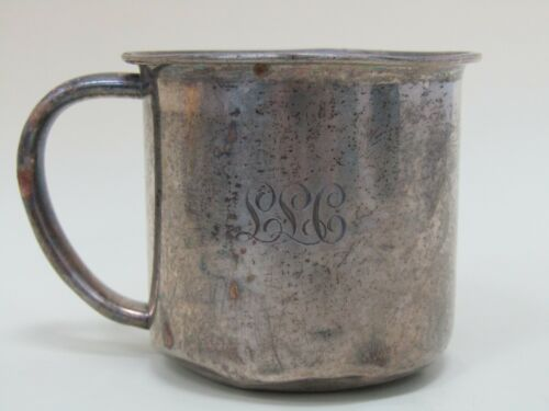 DAMAGED Vintage Towle Sterling Silver Baby Cup Monogrammed LLC