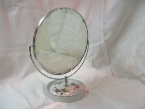 Vintage Japan Moss Rose porcelain large 2 sided Vanity Mirror regular & magnify