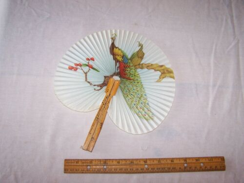 Vintage Hand Held Oriental Style Fan with PEACOCKS