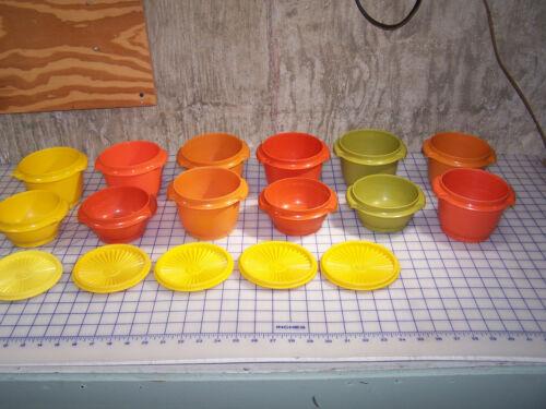 VTG Tupperware 886 (8) 1323 (4) Harvest Colors 10/20oz Servalier Bowls 5 Lids