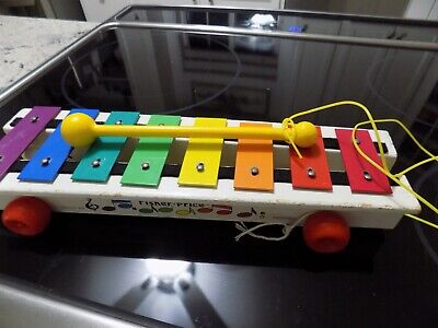 Vintage 1964 Fisher Price 870 Xylophone USA Made Pull Toy W/String Drum