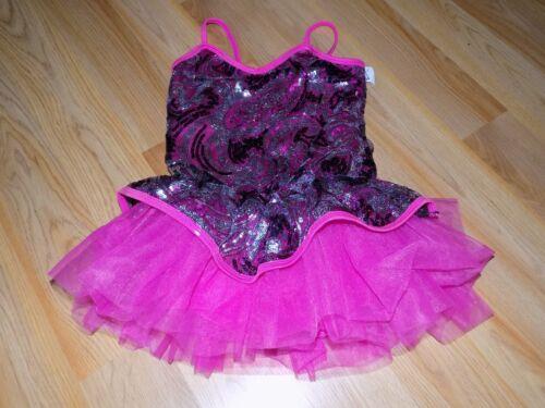 Child Size Medium Curtain Call Metallic Pink Sequined Dance Costume Unitard EUC