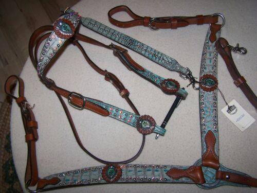 Alamo Saddlery Turquoise Gator W/ Bling headstall and breastcollar set