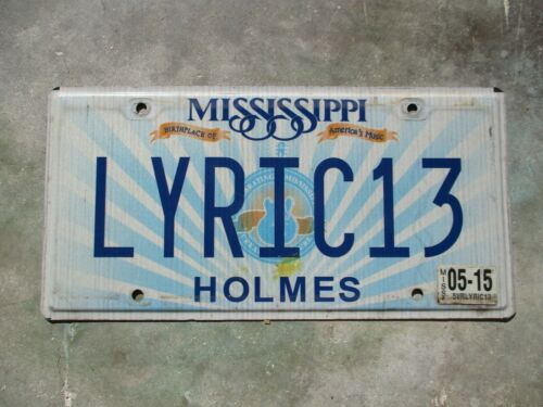 Mississippi 2015 vanity license plate  #  LYRIC13