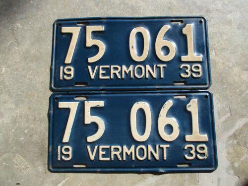 Vermont 1939 license plate pair #  75  061