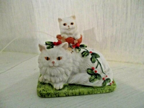 Vintage Cat Christmas Ornament Roman Porcelain Sandy Claws by Irene Spencer
