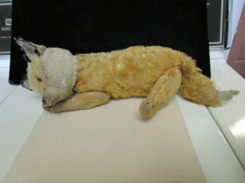 ANTIQUE STEIFF MOHAIR FOX  5 WAY JOINTED BODY WITH BUTTON IN THE EAR c1920S