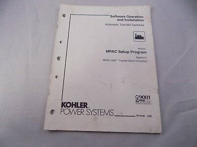 Kohler Automatic Transfer Switches Software Operation Installation Manual Mpac