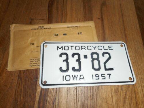 NOS Vintage 1957 IOWA IA MOTORCYCLE 4 DIGIT LICENSE PLATE TAG with ENVELOPE
