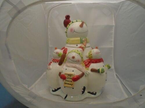Oneida Snowman Family Ceramic Cookie Jar - SO CUTE