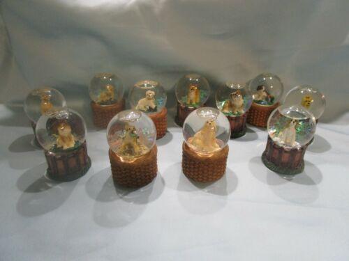 Living Stone, 2003,  Mini Dog Glitter Waterball Globe, 11 Breeds....NEW