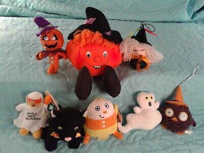 Lots Of Halloween Candy (Nice Lot of 8 HALLOWEEN PLUSH 4 HALLMARK Pumpkins Cat Ghost Owl Candy Corn)