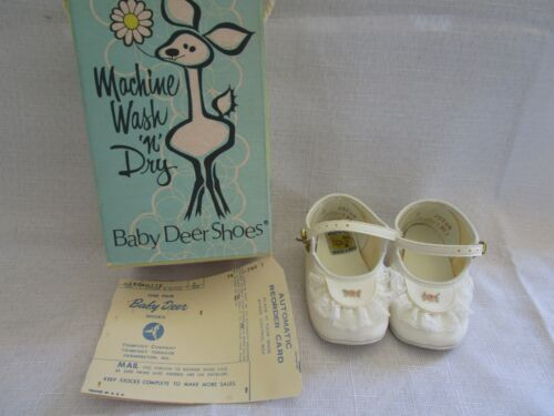 Vintage Girls BABY DEER Mary Jane Shoes Size 2, LACE ACCENTS NEW IN ORIGINAL BOX