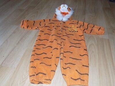 Toddler Size 2T Plush Tiger Halloween Costume Hooded Jumpsuit Orange EUC  - Toddler Tiger Halloween Costume