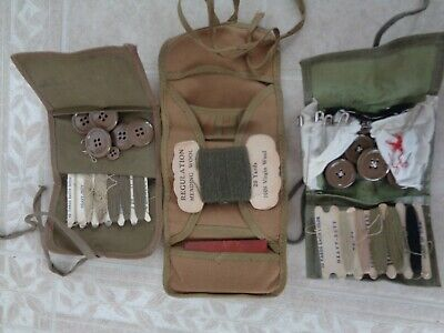 Vintage Army/Boy Scout Roll-Up Mending/Sewing/Notions Lot 3 Kits Buttons Thread