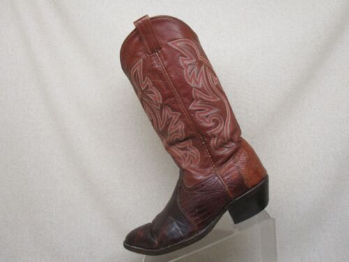 Brown, Leather, Lizard, Skin, Cowboy, Western, Boots, Leather, Mens, Size, 9, D, Style, J840