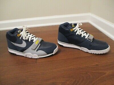 Used Worn Size 10 Nike Air Trainer 1 Mid Premium Shoes Navy Gray Obsidian Yellow