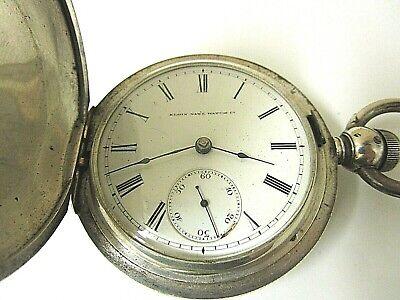 Vintage Elgin Coin Silver. Key Wind/Key Set. No Key. 18s Runs
