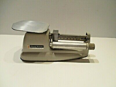 Vintage Pitney Bowes Postal Mail Scale Old Balance 16oz Weight Gray Finish