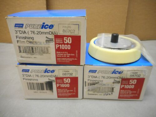 """150 Norton Pureice 3"""" P1000 Grit Finishing Discs + Back Up Pad. FREE SHIPPING!"""