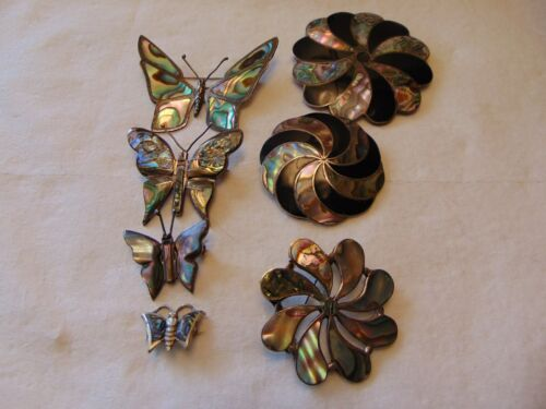 Vtg Taxco Mexico 925 Sterling Abalone Butterflies Pinwheels Brooches Pendants
