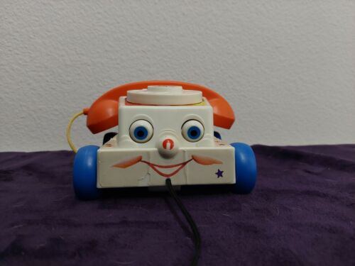 Vintage 1985 Fisher Price Chatter Phone Rotary Telephone Pull Toy 737