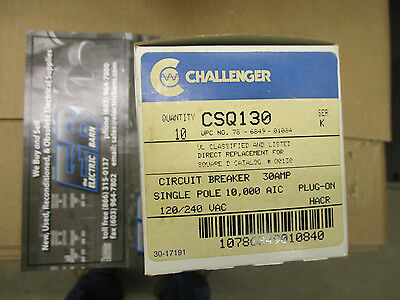 Challenger Csq130 30 Amp 120v Classified Replacement Breakers Box Of 10- New