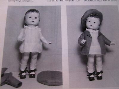 "13"" Flapper DOLL Fanny Dress/ Coat/ Beret Pattern / Gladys Brown  UNCUT"