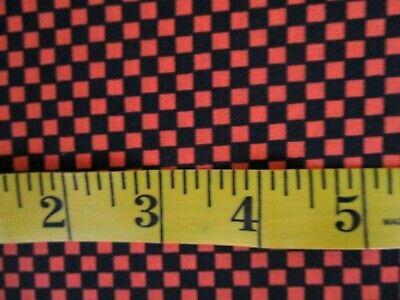1 YARD SMALL ORANGE AND BLACK CHECK 100% COTTON FABRIC