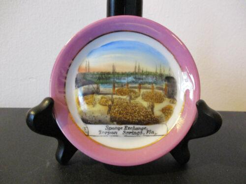 Circa 1910 Souvenir Dish Cup Plate Sponge Exchange Tarpon Springs Florida