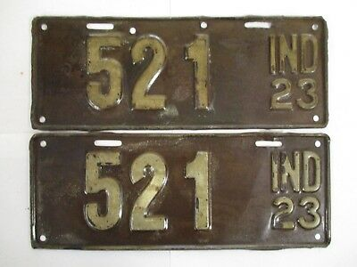 PAIR 1923 Indiana THREE DIGIT  License Plate Tag