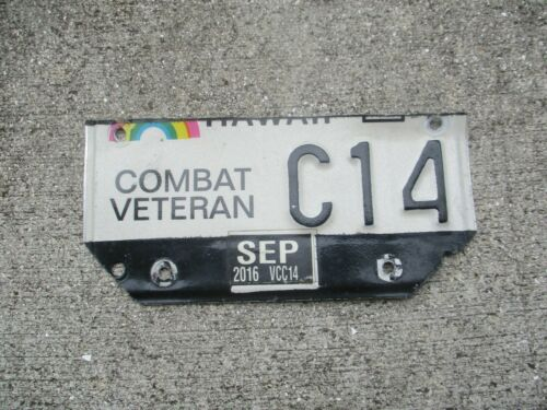 Hawaii 2016 Combat Veteran motorcycle  license plate   #  C 14