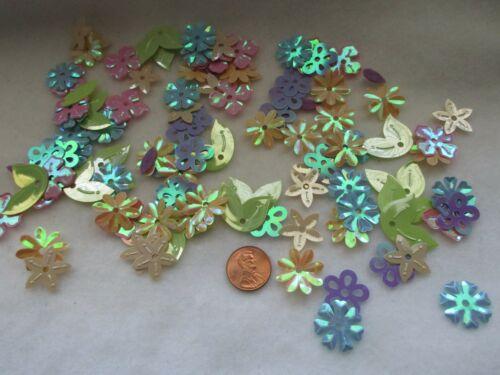NEW Shiny Plastic Flowers & Leaves Multi Colors
