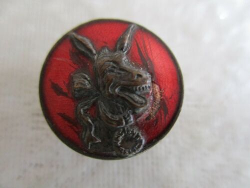 Rare Antique Democratic (?) Laughing Mule/Donkey Ancient Relic Enamel Button