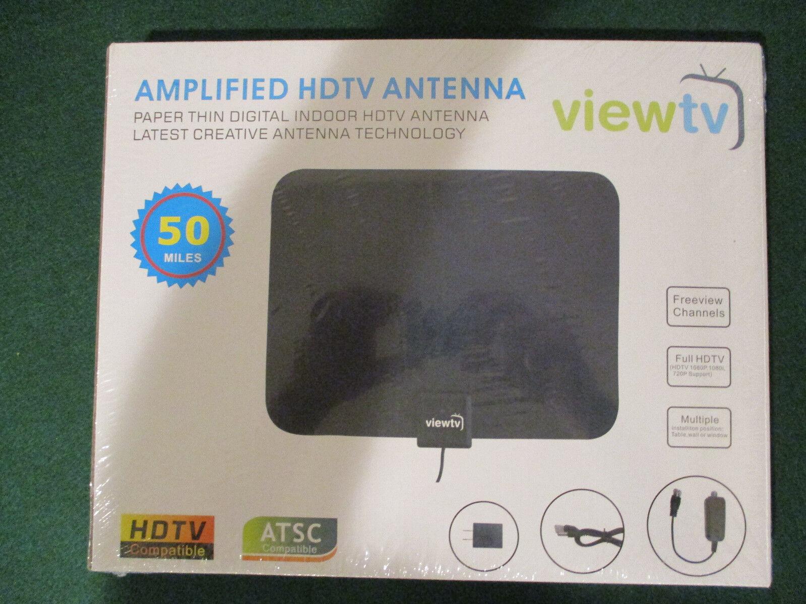 ViewTV Flat HD Digital Indoor Amplified TV Antenna - 50 Mile