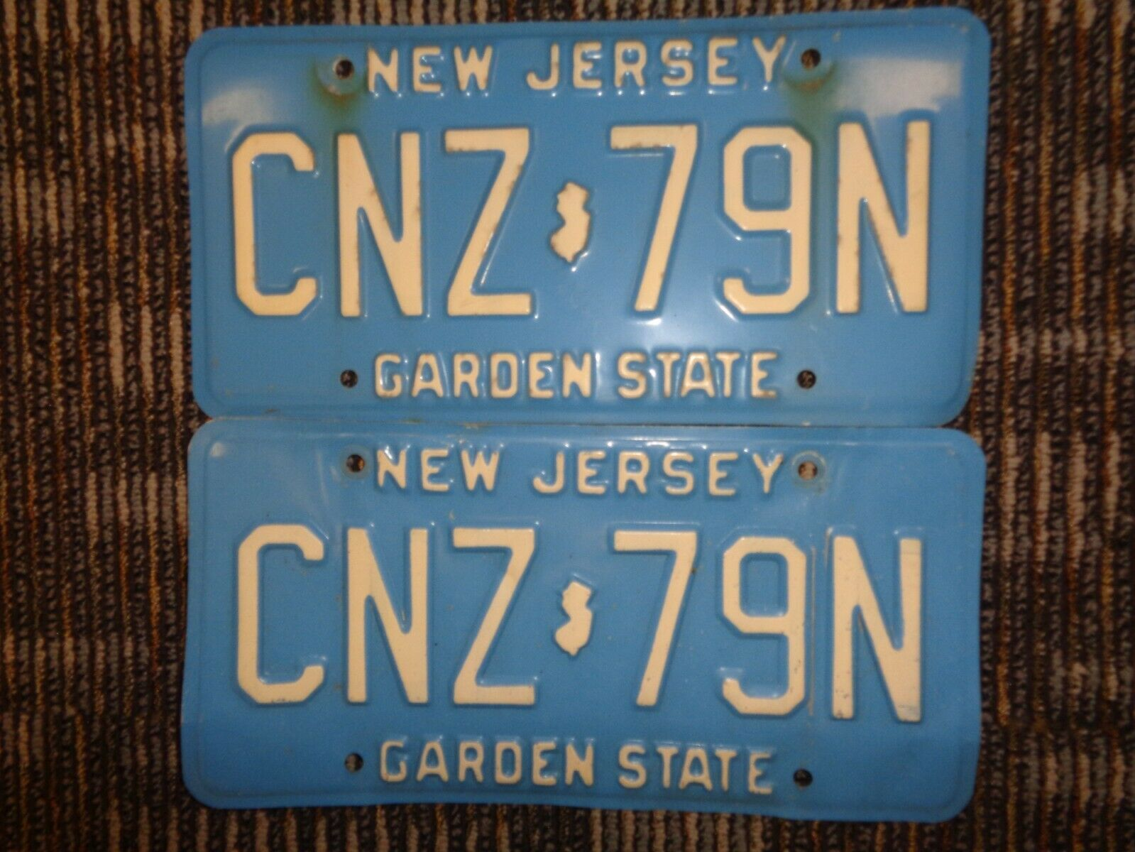 LOT 2-1979 NEW JERSEY THE GARDEN STATE BABY BLUE LICENSE CAR PLATES CNZ-79N  - $4.74