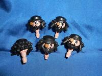 Playmobil Ritter Pirat 5 x Kopf graue Haare gezackt unbespielt unplayed top