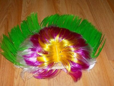One Size Cool Novelty Mohawk Muti Colored Costume Wig Green Pink Yellow White - Pink Mohawk Wig