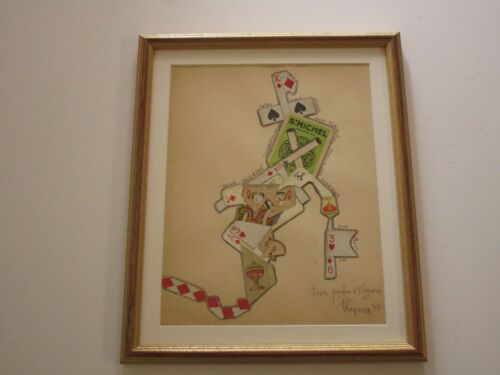 GORDON WAGNER COLLAGE POKER 1981 ORIGINAL DRAWING ABSTRACT MODERNIST ASSEMBLAGE